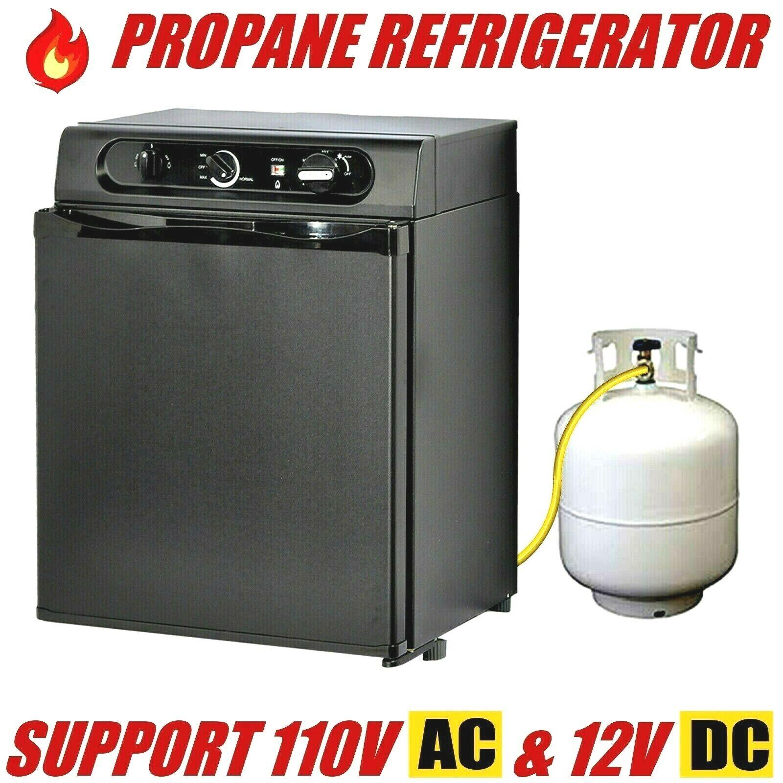 Gas Fridge Propane Refrigerator RV Dorm Compact Freestanding AC/DC 1.4 Cu ft