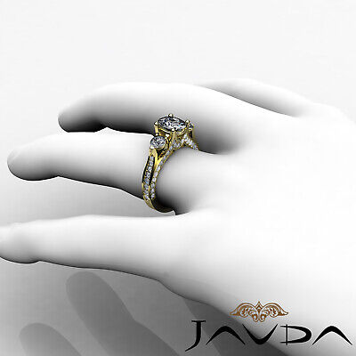 4 Prong Setting 3 Stone Oval Diamond Engagement Cathedral Ring GIA H SI1 2.3 Ct 10