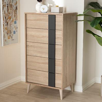 5-drawer Dresser Chest Mid-century Modern Clothes Storage Organizer Light Brown