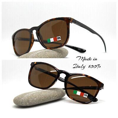 Made IN Italy Gafas de Sol Hombre Clásico Cuadrado Oval Marrón Turtle...