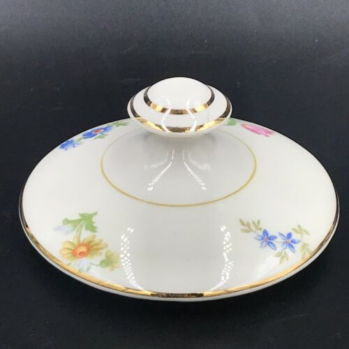 Pope Gosser Paula Sugar Bowl REPLACEMENT LID ONLY Pink Blue Flowers Gold DH