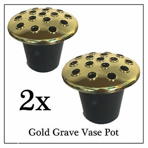 2x Gold Memorial Grave Flower Pot, Replacement Stem Water Holder for Vases Stone