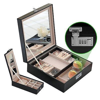 - Combination Lock Women Travel Jewelry Box Organizer with Large Mirror 2 Trays