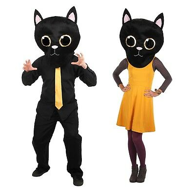 Adult Plush Black Cat Mascot Costume Mask Head MASKot Cute Animal Anime - Cat Head Mask