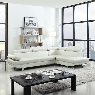 2 Piece Modern Contemporary White Faux Leather Sectional Sofa, Living Room Set