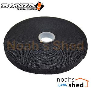BONZA Hook & Loop Cable Grip Ties Velcro's Style Self Adhesive 12mm 10M Black