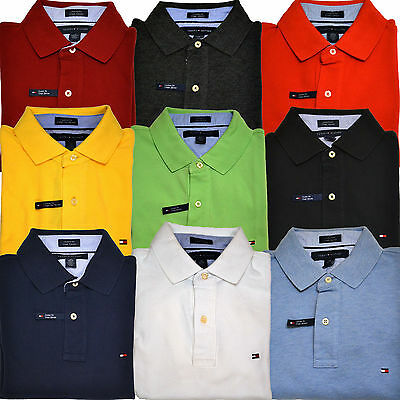 - Tommy Hilfiger Polo Shirt Mens Custom Fit Mesh Solid Short Sleeve Collared New