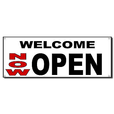 Welcome Now Open New Business Vinyl Banner Sign W Grommets 3 Ft X 6 Ft