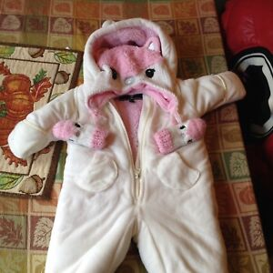 Like new 6-9 month snowsuit with hat and gloves
