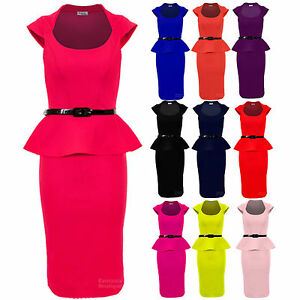Ladies-Belted-Peplum-Knee-Length-Frill-Pencil-Skirt-Bodycon-Womens-Dress-8-14