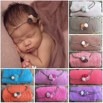 SET Baby Newborn Wrap Swaddle and Matching Headband Girl Photography Photo Prop