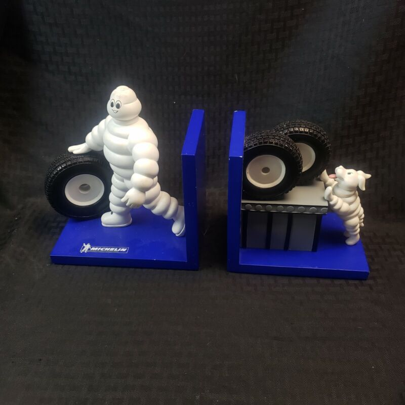 Rare Michelin Man Bibendum And His Dog Tire Advertising Bookends