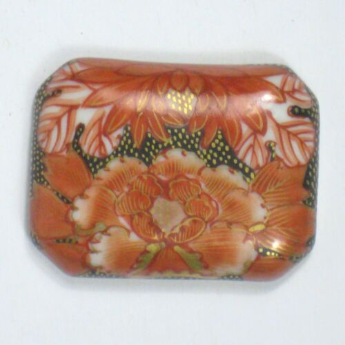 Porcelain Obidome Japan 1.5 in Flower Floral Painted Signed Obi Dome Kutani