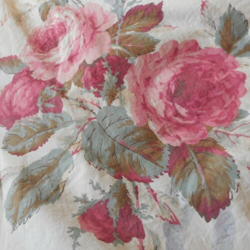 Antique Shabby Cottage Roses & Ribbon Cotton Fabric ~ Rose Pink Blue