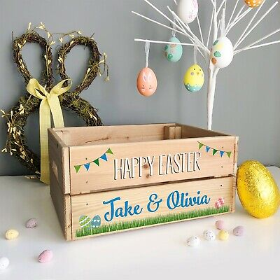 Personalised Wooden Easter Egg Crate, Easter Box Basket For Children BOY or GIRL - Personalized Easter Baskets For Boys