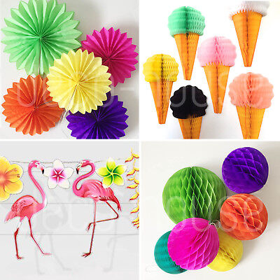 Hawaii Tropical BBQ Party Hanging Tissue Paper Decoration Birthday Wedding