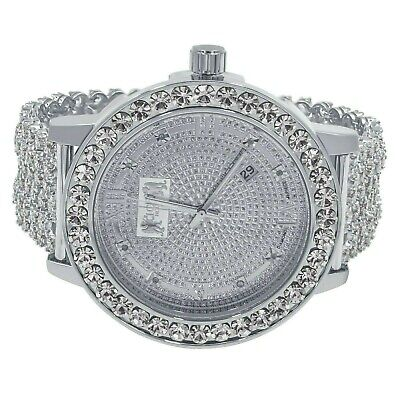 Custom Premium Khronos Watch Real Diamond White Gold Finish Iced Out Band Bezel ()