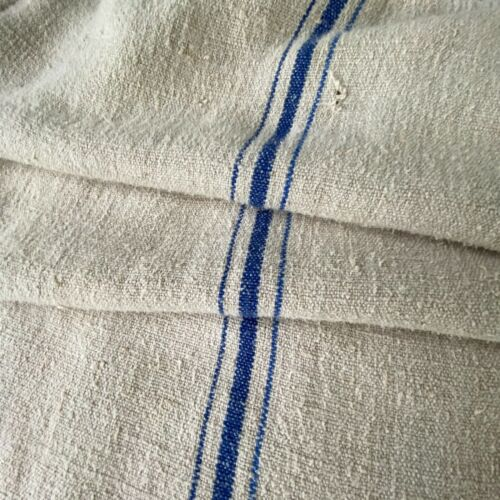 GRAINSACK GRAIN SACK fabric linen homespun European BLUE stripe bag feed