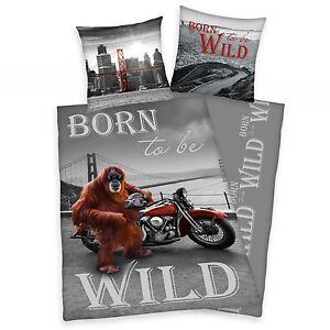 BORN TO BE WILD ORANGUTAN MOTORBIKE SINGLE DUVET COVER SET 100% COTTON BEDDING