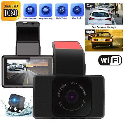 WiFi 1080P Dual Dash Cam IR Night Vision Front &Rear Camera Car Driving Recorder
