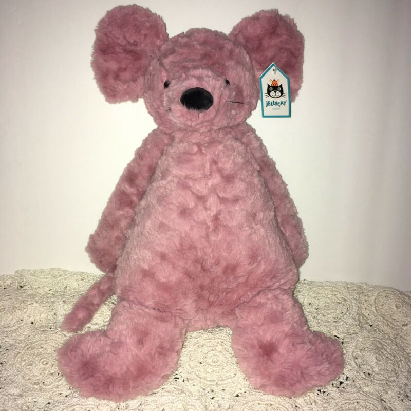 "Jellycat London Marcella Mouse Stuffed Plush Animal 15.5"" Mauve RETIRED NWT"