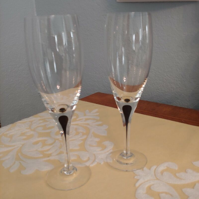 Orrefors Sweden Intermezzo RARE Black Crystal Claret Wine Set of 2