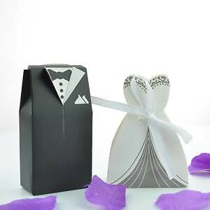 100 Bride And Groom Wedding Favours Boxes Sweets Gift For Guest With Ribbon