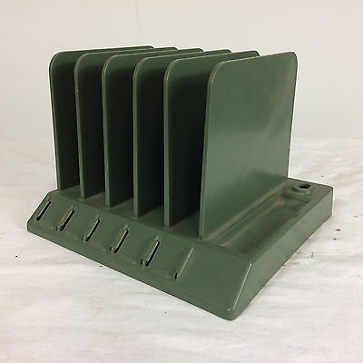 Vintage Mid Century Green Desk Letter Organizer Paper File Tray Retro Atomic