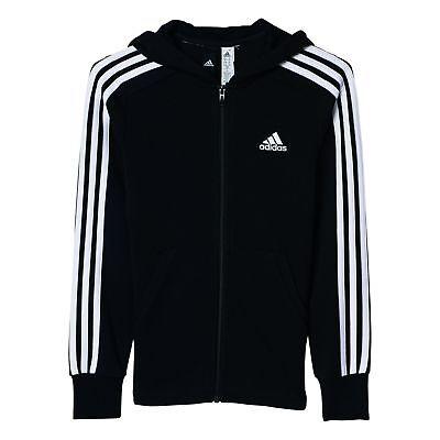 adidas Performance Mädchen Trainings Jacke ESS 3 Stripes Full Zip Hoodie schwarz ()