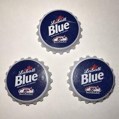 3 Labatt Blue Canadian Pilsener Beer Bottle Openers Magnetic Bottle Cap Shaped