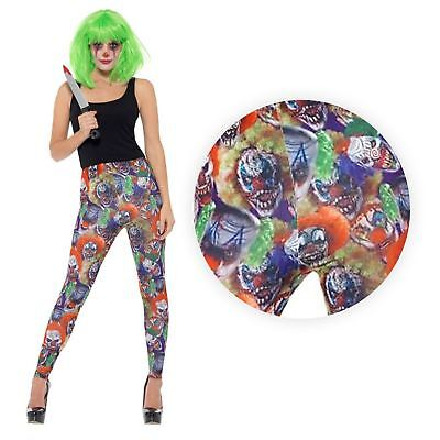 Creepy Clown Leggings Halloween Fancy Dress Alternative Goth Punk Circus Show - Creepy Carnival Costumes