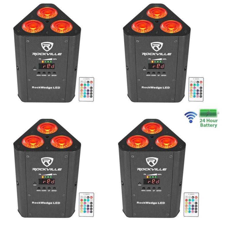 (4) Rockville RockWedge LED RGBWA+UV Rechargeable Wireless DMX DJ Par Up-Lights