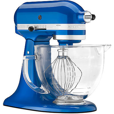 KitchenAid Electric Blue Tilt Artisan Stand Mixer 5 qt Glass Bowl KSM155GBeb