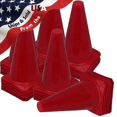 "36 New 9"" Tall RED Cones ~ Soccer Football Baseball Traffic Dog Training Safety"