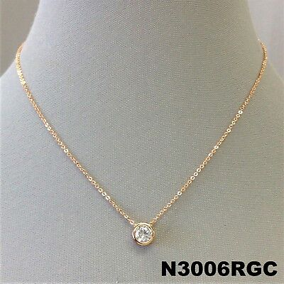 - Rose Gold Finish Round Clear Cubic Zirconia Pendant Gold Dipped Dainty Necklace