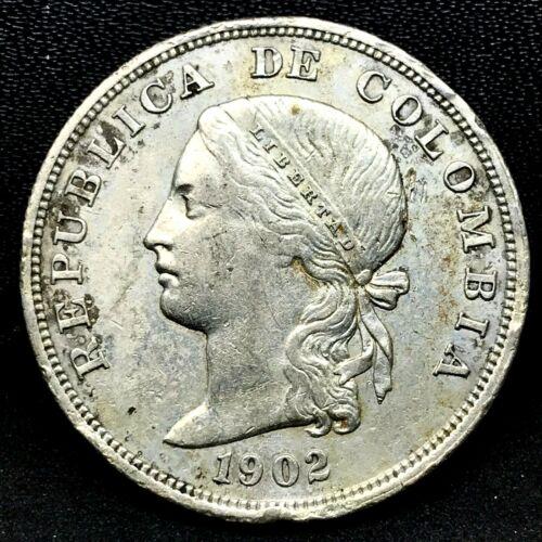 Colombia: 50 Centavos -1902 Philadelphia Mint-Silver Coin.Choice AU/MS  KM#192.