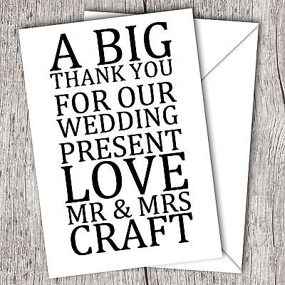 Personalised WEDDING Thank You Cards - Big Words - (Wedding Thank You Wording)