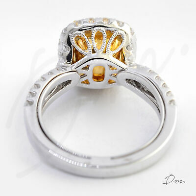 Natural 2.60 TCW Cushion Cut Split Shank Halo Pave Diamond Engagement Ring - GIA 3