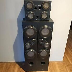 Pioneer VSX818V 5.1 A/V Reciever and SR33TB and SR3SW Speakers Gosnells Gosnells Area Preview