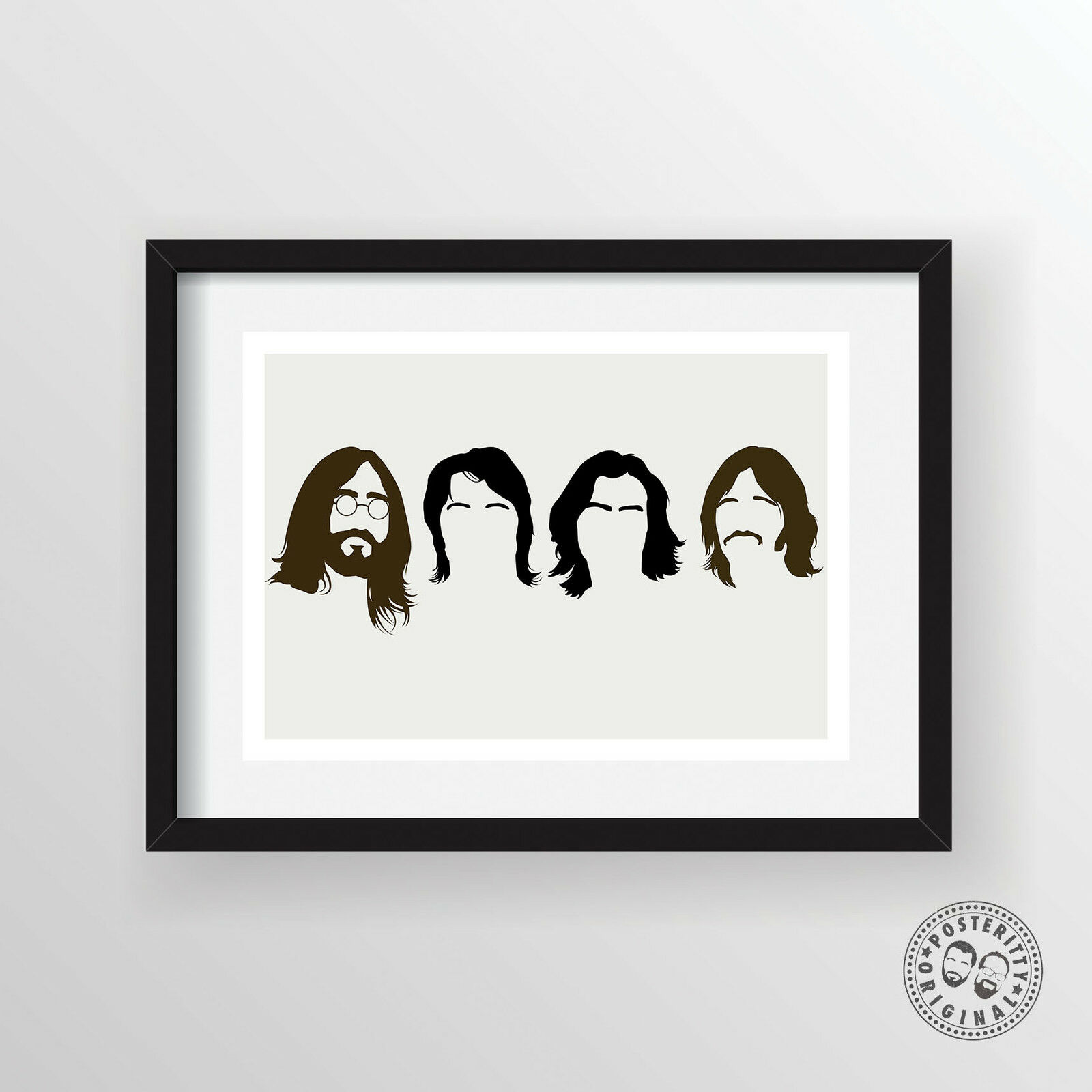 Beatles minimalist band poster silhouette music heads for Minimalist wall decor