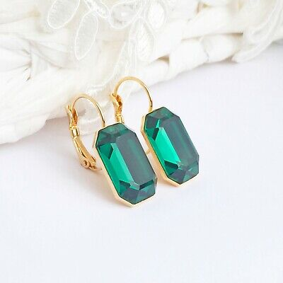 Emerald Green Earrings Made With CRYSTALLIZED™ Swarovski Elements Rectangle Box Element Jewelry Rectangle Earrings