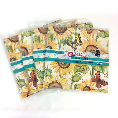- Sunflowers Butterflies Ladybugs Gift Wrap Paper 4 Packages Cleo USA NOS