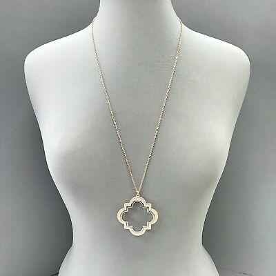Long Chain Rose Gold Color Clover Quatrefoil Shape Cut Out Pendant Necklace