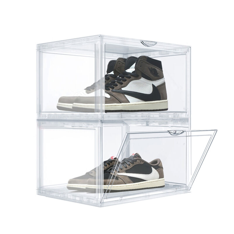 10X Magnetic Clear Shoe Box Storage Stackable Thickened Sneaker Organizer for AJ