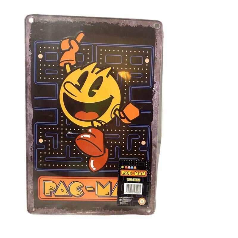 pac man tin sign 12 x 8 game room man cave decor arcade sealed new