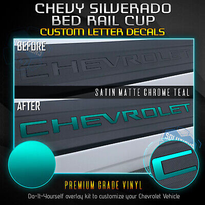 Vinyl Bed Rail - Bed Rail Cap Vinyl Decal Fit New 2019+ Chevrolet Silverado - Satin Matte Chrome