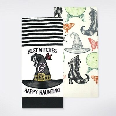 2 pk Best Witches Hat Kitchen Dish Towel Celebrate Halloween 16.5x26 NWT (Best Halloween)
