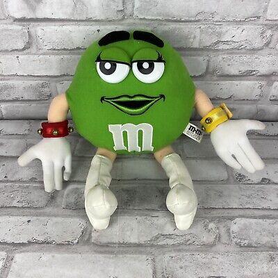 "M&M Posable Posable Stuffed Plush Green Christmas Character Jingle Bells 13"""