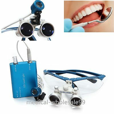 Dental Optical Glasses Binocular Loupes Magnify Zoom 3.5x420led Head Light Lamp