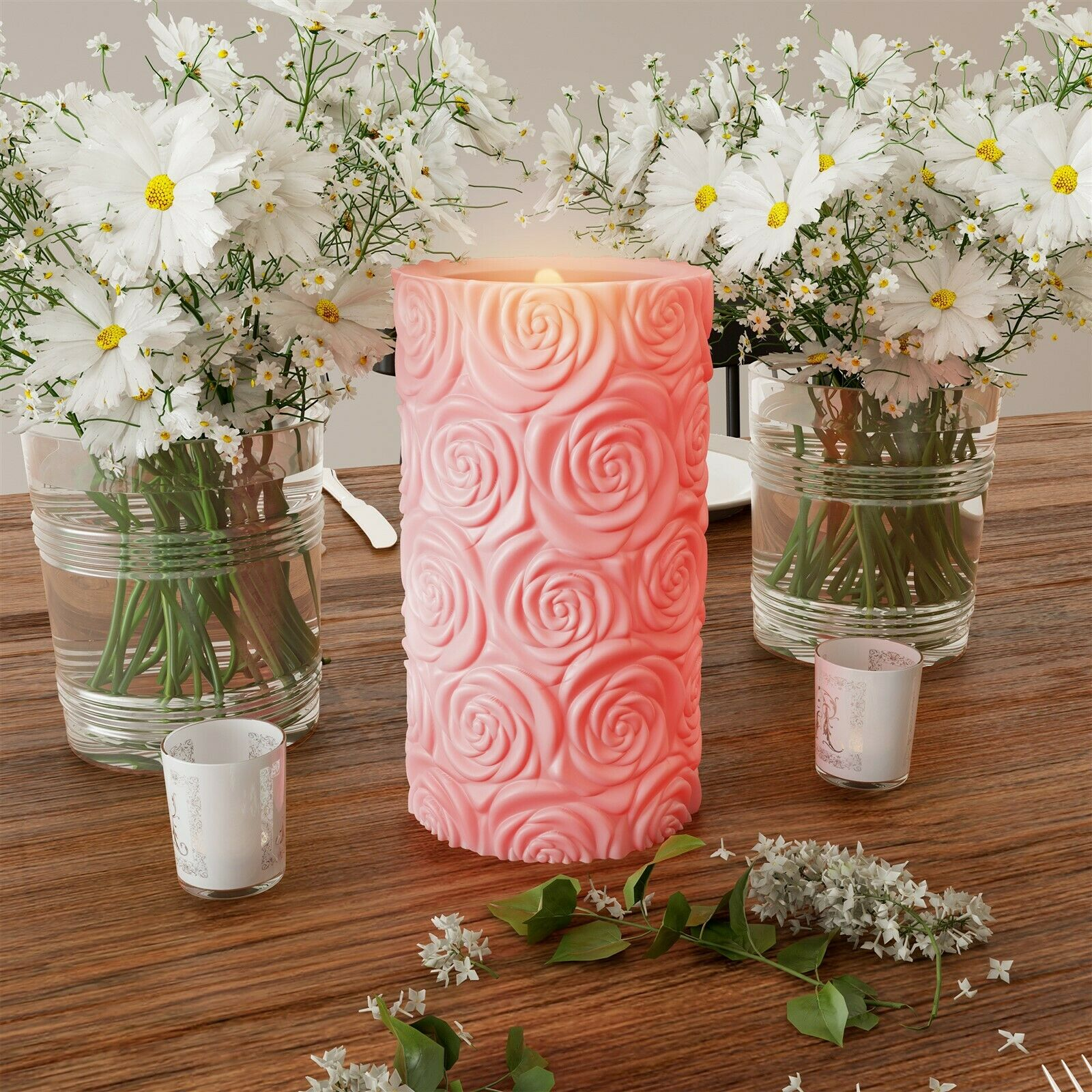 scented pink rose led 6 in candle